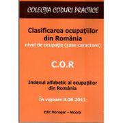 COR Clasificarea ocupatiilor din Romania - In vigoare 8.08.2011