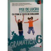 Fise de lucru pe lectii si unitati de invatare cu itemi si teste de evaluare, gramatica clasa a VI-a