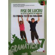 Fise de lucru pe lectii si unitati de invatare cu itemi si teste de evaluare, gramatica clasa a VII-a
