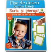 Scrie si Sterge! Fise de desen pentru baieti, 40 de fise (3-7 ani)