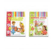 Set de 2 caiete pentru gradinita, nivel 4-5 ani. Domeniul Limba si Comunicare, Domeniul Stiinte (Cunoasterea Mediului si Activitate Matematica)