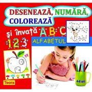 Deseneaza, numara, coloreaza si invata alfabetul