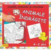 Numar, desenez si colorez Animale Indragite - 4-5 ani