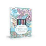 Sa coloram sirenele in culori pastel (4 carioci pastel, 2 tuburi de lipici cu sclipici)
