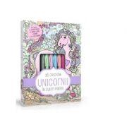 Sa coloram unicorni in culori pastel - 4 carioci pastel, 2 tuburi de lipici cu sclipici