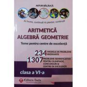 Aritmetica, algebra, geometrie - teme pentru centre de excelenta, clasa a VI-a - 234 modele de probleme rezolvate. 1307 probleme semnificative pentru olimpiade, concursuri si centre de excelenta - Artur Balauca