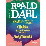 Box set cu 3 titluri de Roald Dahl: Charlie și Fabrica de Ciocolată, Charlie și Marele Ascensor de Sticlă și Vrăjitoarele