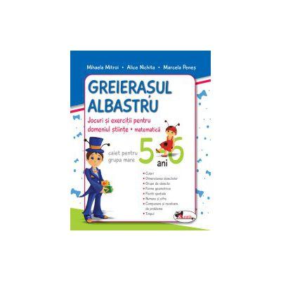 Greierasul Albastru - Jocuri si exercitii pentru domeniul stiinte - Matematica (caiet) grupa mare 5-6 ani