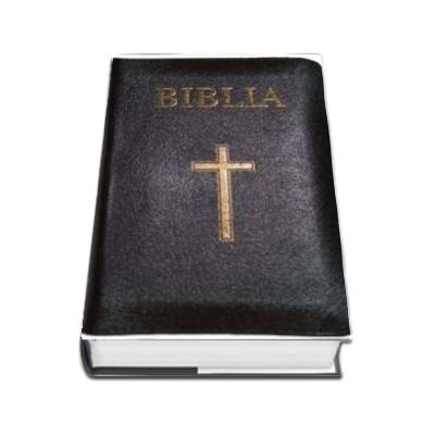 Biblia ( Format mare, coperta piele, margini aurii, repertoar, fermoar, neagra, cu cruce)