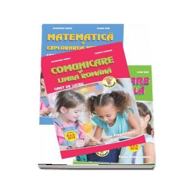 Set de 3 caiete pentru clasa pregatitoare - Editia 2018 - Comunicare in Limba Romana, Dezvoltare personala, Matematica si explorarea mediului (Aprobat M. E. N. 2018)