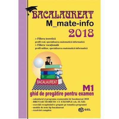 Bacalaureat Matematica M_mate-info 2018 -. Ghid de pregatire pentru examen M1