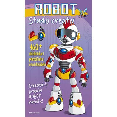 Robot - Studio creativ. 160 de abtibilduri plastifiate reutilizabile. Creeaza-ti propriul Robot Magnific!