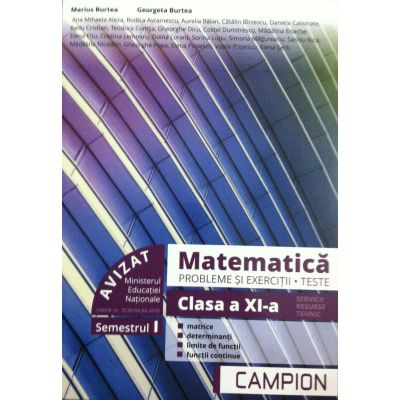 Matematica. Probleme si exercitii, teste clasa a XI-a semestrul 1 (PROFIL TEHNIC) - Matrice, determinanti, limite de functii, functii continue